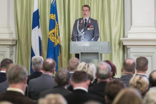 Juhlapuheen piti Maanpuolustuskurssien johtaja, eversti Mika Kalliomaa, joka toi samalla valtakunnallisen Maanpuolustuskurssiyhdistyksen tervehdyksen juhlivalle yhdistyksellemme.